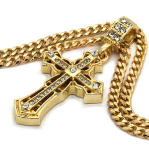 Iced Spear Cross Pendant With 3mm/30