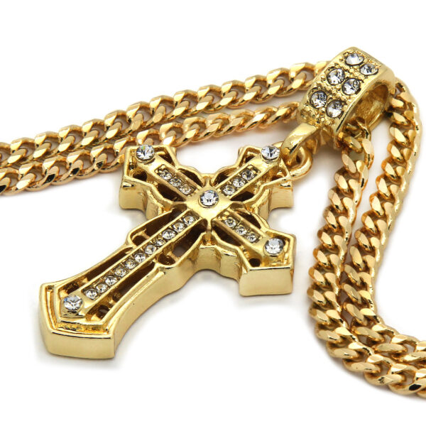 """Iced Spear Cross Pendant With 3mm/30"""" Cuban Chain"""