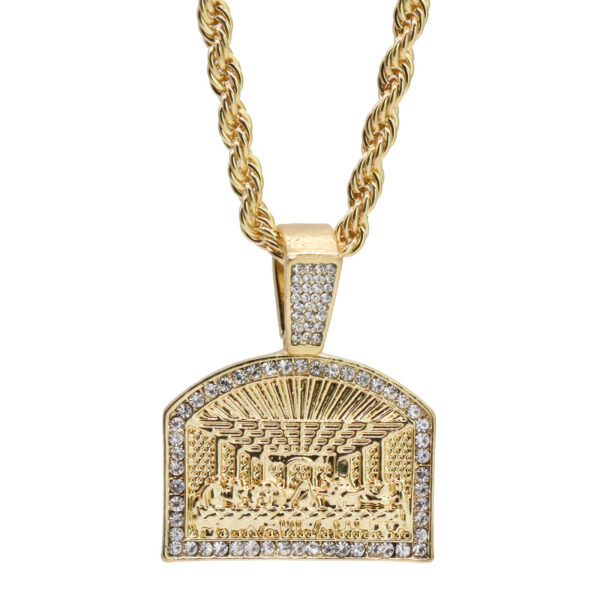 """Religious Last Supper Charm Pendant With 24"""" Rope Chain"""