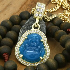 "Blue Resin Buddha Pendant w/3mm 24"" Cuban Link Chain"