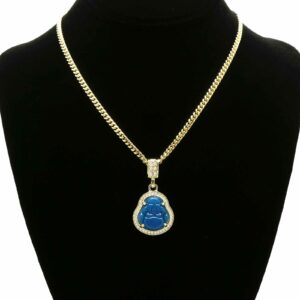 Buddha Blue Resin Pendant With 3mm x 24