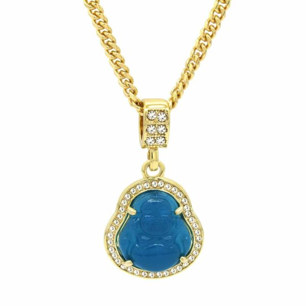 "Blue Resin Buddha Pendant w/3mm 24"" Cuban Link Chain"