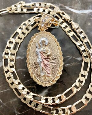 "San Judas Charm With 26"" Figaro Chain Necklace"