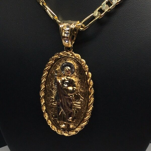 """San Judas Charm With 26"""" Figaro Chain Necklace"""