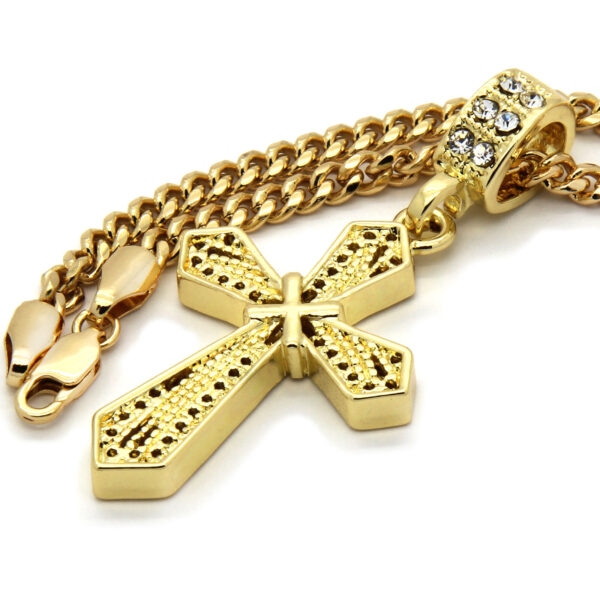 "X Cross Pendant With 30"" Cuban Chain Necklace"