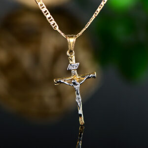 2 Tone Jesus Crucifix Pendant Flat Mariner Chain Necklace