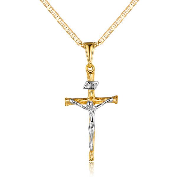 2 Tone Jesus Crucifix Pendant Flat Mariner Chain Necklace