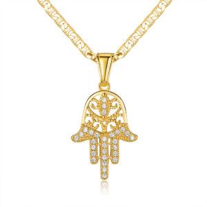 Filigree Hamsa Pendant With Swarovski Elements & Necklace