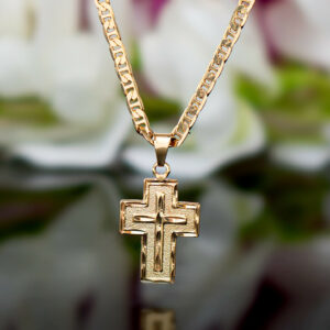 "Religious Jesus Cross Pendant With 22"" Or 24"" Flat Mariner Necklace"