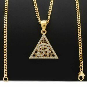 Iced Pyramid eye of Horus Pendant w/24