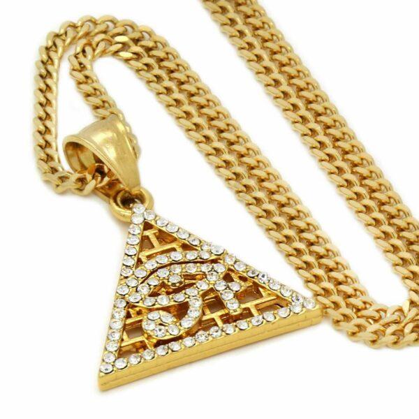 "Iced Pyramid eye of Horus Pendant w/24"" Cuban Chain"