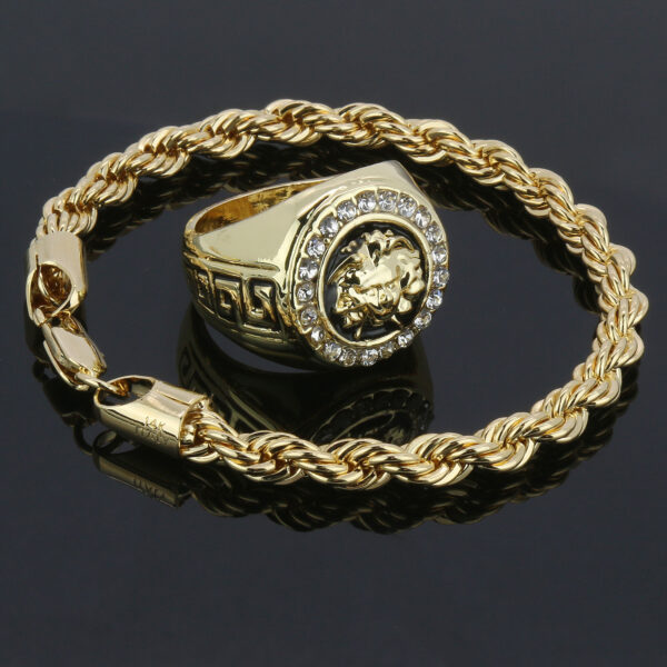 Rope Bracelet With MEDUSA HEAD Round Iced Pinky Ring