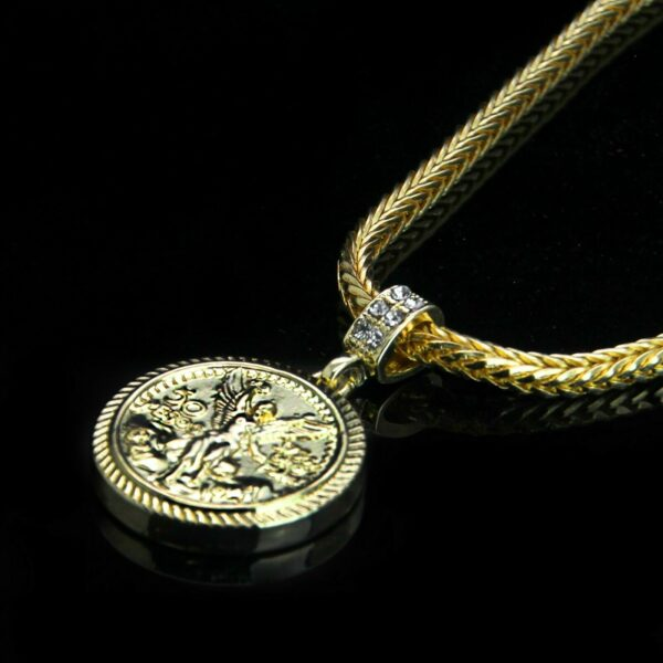"50 Mexican Pesos Pendant w/4mm 24"" Franco Chain Necklace 10749"