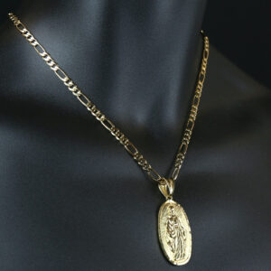 "Our Lady Of Guadalupe Pendant With 18"" Figaro Necklace Chain"