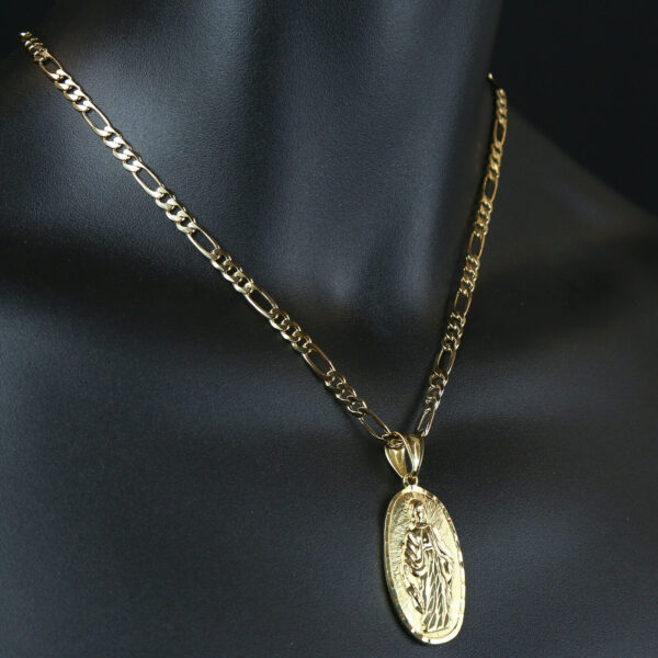 """Our Lady Of Guadalupe Pendant With 18"""" Figaro Necklace Chain"""