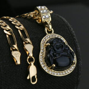"Buddha Black Charm Pendant With 5mm 18"" Figaro Necklace Choker Chain"