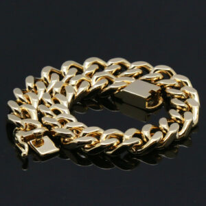 Iced Chunky Dome Pinky Ring And Cuban Bracelet Set