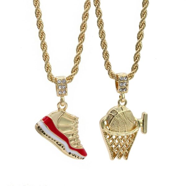 "Retro 11 Cherry Grip #2 Icy Basketball Pendant w/24""4mm Rope Chain"