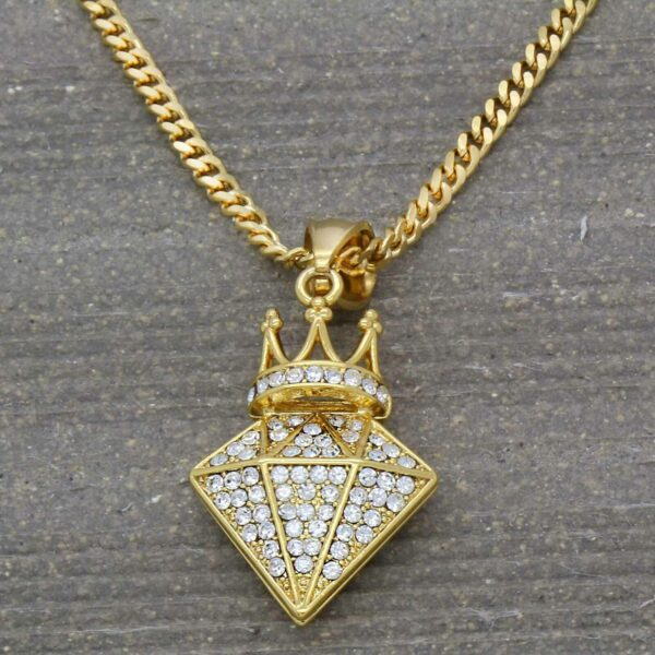 "Icy Crown D shaped Pendant w/3mm 24"" Cuban Chain"