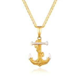 Flat Mariner Necklace With 2T Anchor Charm Pendant