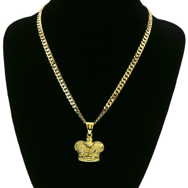 "Crown Royalty Pendant With 5mm 24"" Cuban Necklace Chain"