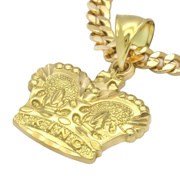 """Crown Royalty Pendant With 5mm 24"""" Cuban Necklace Chain"""