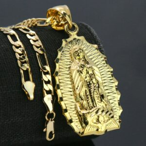 "Our lady of Guadalupe Pendant With 18"" Figaro Choker Chain"