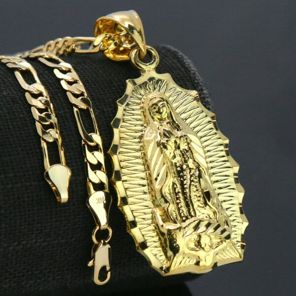 """Our lady of Guadalupe Pendant With 18"""" Figaro Choker Chain"""