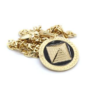Round Black/Gold Pyramid w/24