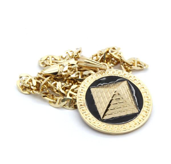 "Round Black/Gold Pyramid w/24"" Mariner Necklace"