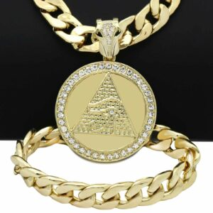 "Eye of Horus Pyramid Pendant w/30"" Miami Cuban Link Chain & Bracelet"