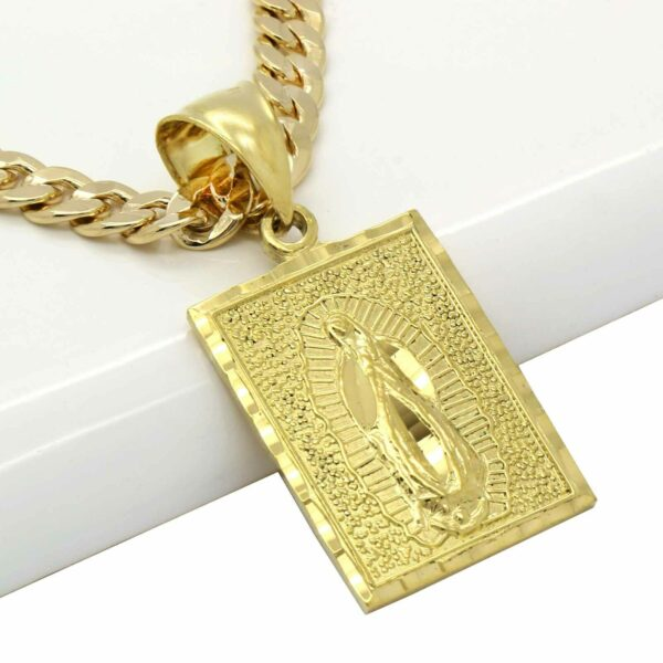 "Square D-Cut Guadalupe Pendant w/6mm 24"" Cuban Chain"