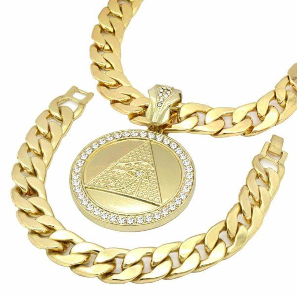 "Eye of Horus Pyramid Pendant w/30"" Miami Cuban Link Chain & Bracelet"