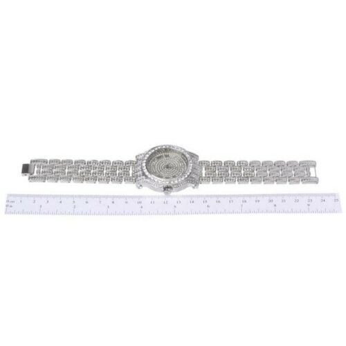 Iced Out Silver Tone Watch Lab Stones