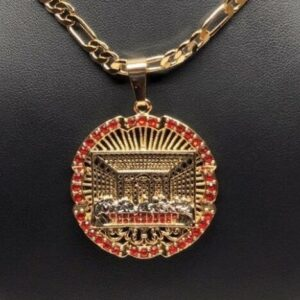 "Figaro 26"" Chain With Santa Cena Last Supper Pendant"