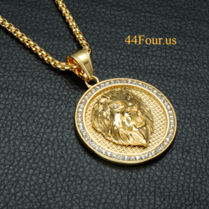 "Ice Out Lion Head Pendant With 30"" Box Link Necklaces"