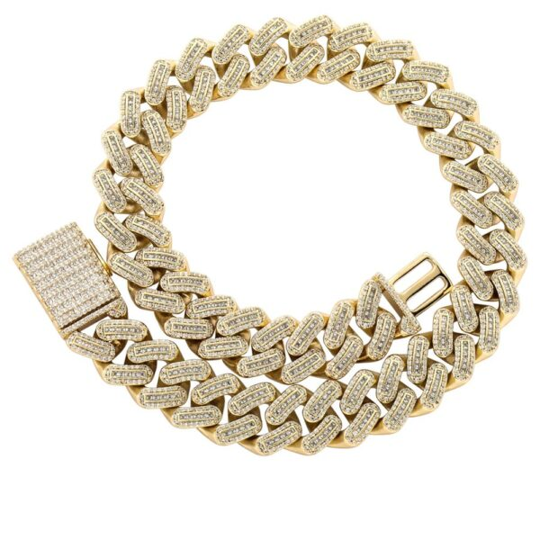18mm Miami Cuban Link Necklace Square Buckle Hip Hop Jewelry