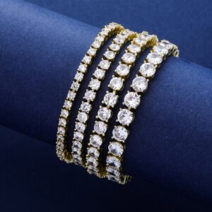 3MM-6MM Spring Buckle Iced 1 Row Tennis Chain Or Bracelet