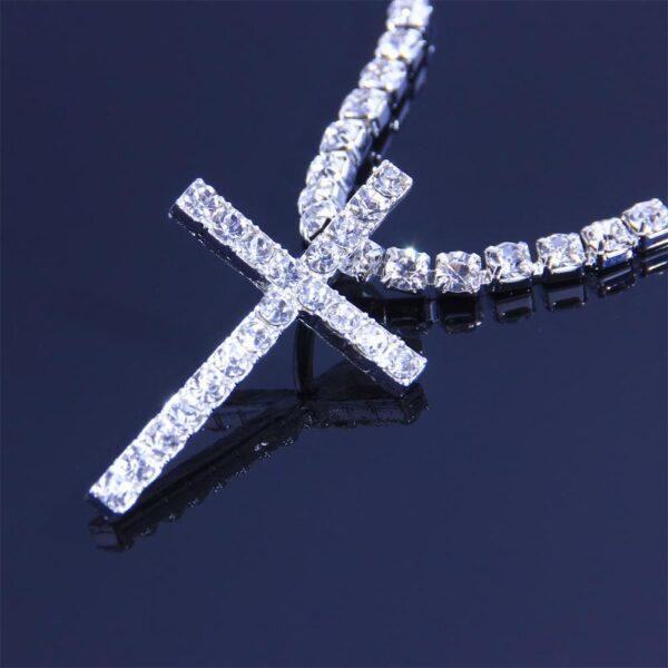 Big Stone Jesus Cross Charm Pendant With Tennis Choker Chain Necklace