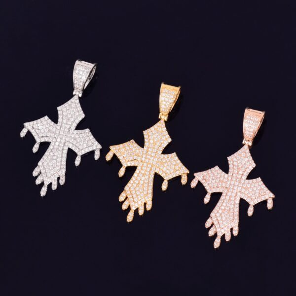 Dripping Cross Pendant Charm With Necklace Chain