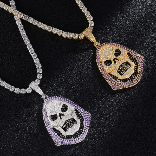Hot Bling Skull Head Iced Out Pendant Charm With Tennis Chain