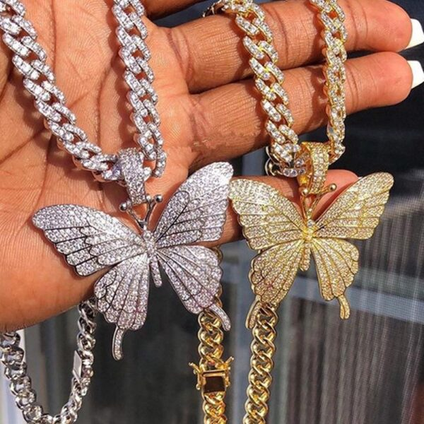 Iced Out Butterfly Necklace Chain for Women Choker Necklace