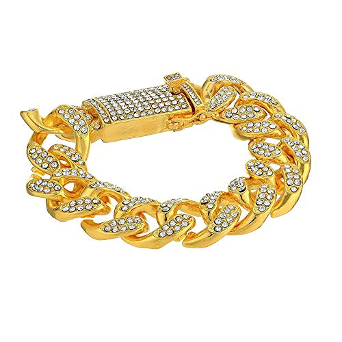 Luxury Gold/Silver Cuban Chain, Watch And Bracelet Set