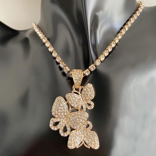 """Women's Iced Butterfly Charm Pendant With 18"""" Tennis Choker Chain Necklace"""