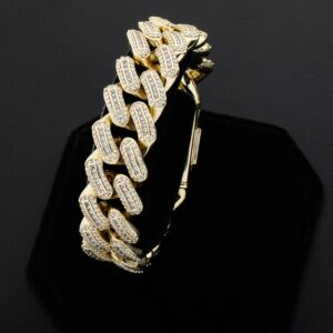 18m Icy Miami Cuban Bracelet Prong Setting 7.5-9.5 Inch