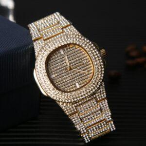 Men Watches Fashion Diamond Automatic Date Quartz Watch Men Stainless Steel Hip Hop Men Watches Top Brand Luxury Clock With Box