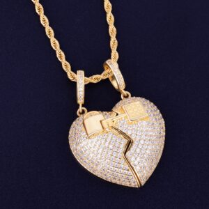 AAA CZ Key Heart Pendant Charm With Necklace Chain