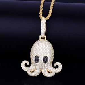 Iced Octopus Pendant Charm With 4mm Tennis Chain