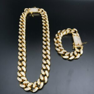 Iced Out Cuban Chain Gold/Silver Color Necklace