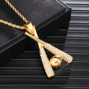 Iced Baseball Bat And Ball Pendant Charm With Necklace